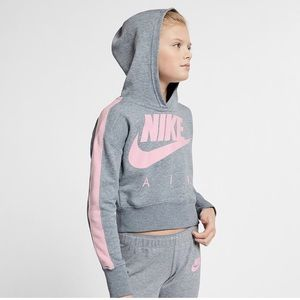 Nike Big Girl's Sportswear Cropped Fleece Hoodie M